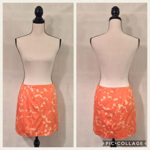J. Crew orange floral misted gladiola mini skirt